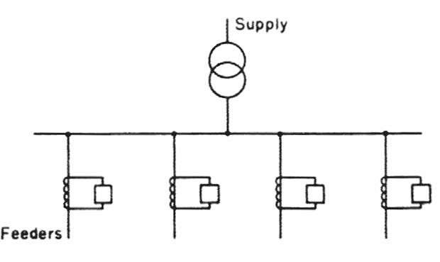 نظام وقاية لقضيب توصيل واحد باستخدام مرحلات زيادة التيار
