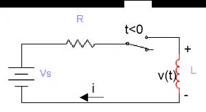 دائرة مقاومة مع ملف في حالة التغير الفجائي